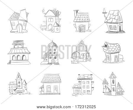 Hand drawn cartoon different houses, buildings. Line sketch, doodle vector set. Illustration of sketch cottage house, graphic sketch architecture house