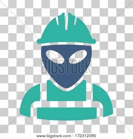 Alien Worker vector pictograph. Illustration style is flat iconic bicolor cobalt and cyan symbol on a transparent background.