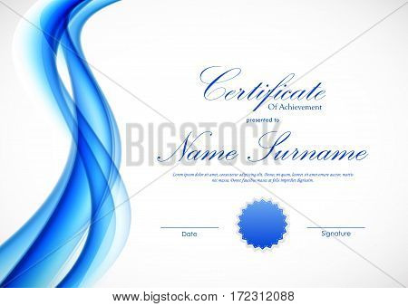 Certificate of achievement template with dynamic blue wavy transparent soft smooth background and seal. Vector illustration