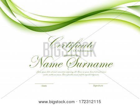 Certificate of achievement template with green dynamic curved smooth wavy background. Vector illustration