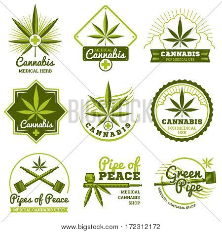 Hashish, rastaman, hemp, cannabis vector logos and labels set. Medicine marijuana and label shop marijuana organic illustration