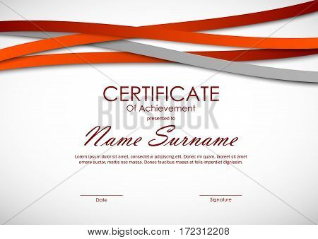 Certificate of achievement template with orange and gray paper wavy lines background. Vector illustration