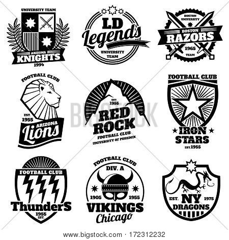 College athletic labels, varsity emblems, vintage sports teams badges, university t shirt design vector. Set of logos for sport team, illustration emblem of university football team