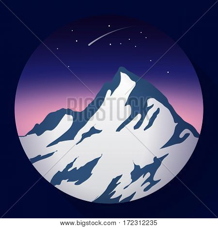 mountain peak icon flat at night and Comet icon