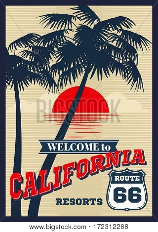 Vintage california vector summer poster, retro t-shirt print. California summer beach, fashion banner california resorts with silhouette of palm trees llustration
