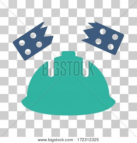 Brick Helmet Accident vector pictogram. Illustration style is flat iconic bicolor cobalt and cyan symbol on a transparent background.