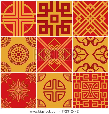 Traditional korea, japan, asian vector seamless patterns set. Collection of asian background, illustration of asian decoration