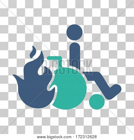 Burn Patient vector pictograph. Illustration style is flat iconic bicolor cobalt and cyan symbol on a transparent background.