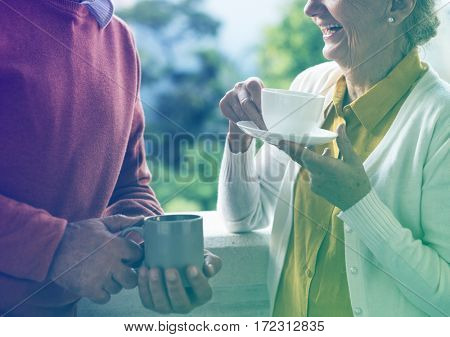 Photo Gradient Style with Senior Couple Daily Lifestyle Happiness