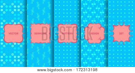 Set Of Seamless Patterns. Collection Of Blue Vector Backgrounds And Pink Labels. Monochrome Geometri