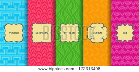 Set Of Seamless Patterns. Collection Of Bright Colorful Vector Backgrounds And Labels. Monochrome Ge