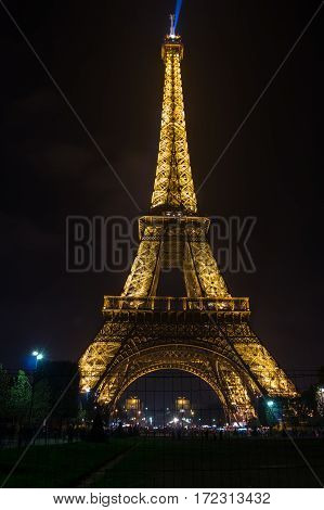 PARIS, FRANCE - OCTOBER 11, 2015: View at famous Tour Eiffel in the night Paris France