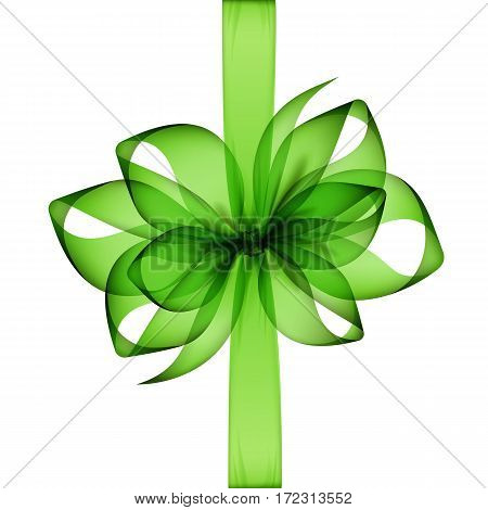 Vector Light Green Transparent Bow and Ribbon Top View Close up Isolated on White Background