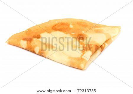 Thin pancake folded triangle.Isolated on a white background.