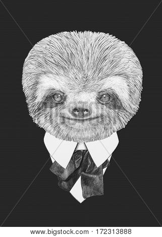 Portrait of Sloth in suit. Hand drawn illustration.