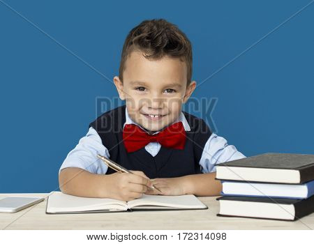 Little Boy Studious Smart Smile