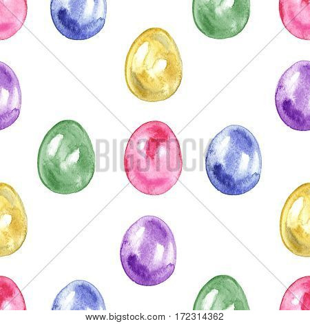 Seamless easter pattern with eggs on white.