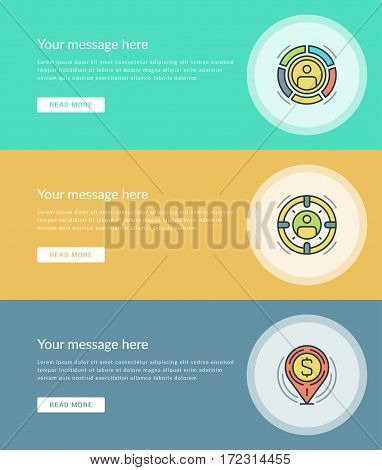 Flat line Business Concept Web Site Banners Set Vector illustration. Modern thin linear stroke vector icons. For Website Advertising Graphics, Mobile Apps, Web Page Layout design.