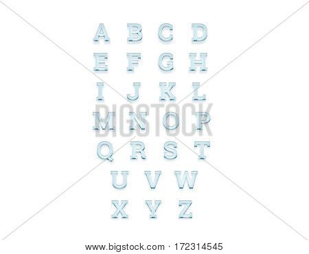 Glass transparent alphabet front view 3d rendering. Turquoise letters set rendered. Shiny acrylic abc types cut out. Glassy bright crystal typography characters text.