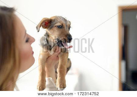 Young Woman Holding Her Yawning Dog