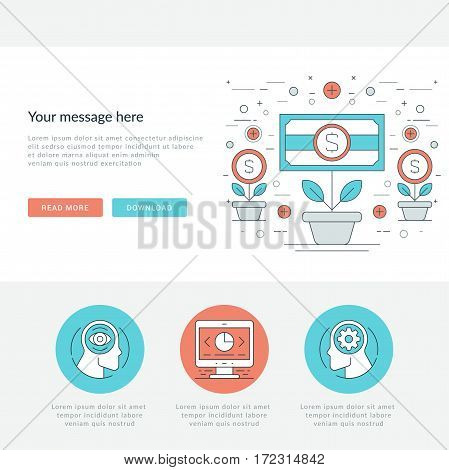 Flat line Business Concept Web Site Header Vector illustration. Modern thin linear stroke vector icons. For website graphics, Mobile Apps, Web Page Layout design.