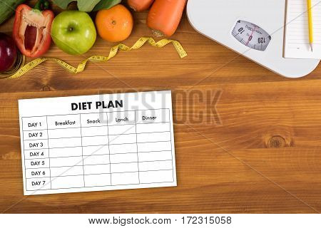 Diet Plan Healthy Eating, Dieting, Slimming And Weigh Loss Concept