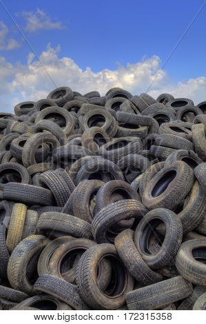 Pile of Old Tyres for Recycling