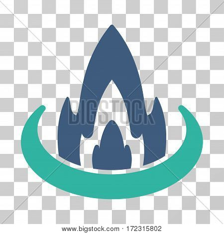 Fire Location vector pictograph. Illustration style is flat iconic bicolor cobalt and cyan symbol on a transparent background.