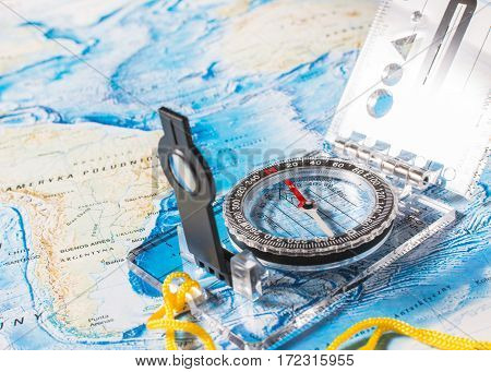 compass on the map. travel background or background