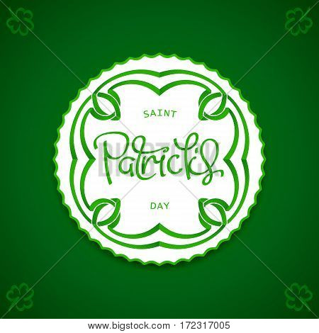 Saint Patrick's Day decorative halftone emblem with celtic ornament. Pop-art style design. Vector illustration