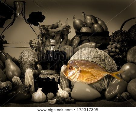 the a Still-life on a yellow background