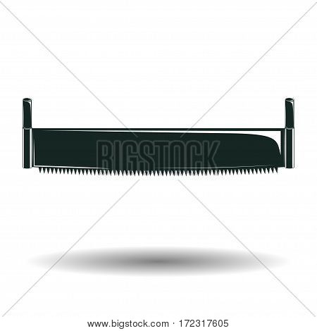 Monochrome crosscut saw sign or icon, element for woodworking emblem or logo, isolated on white background, vector