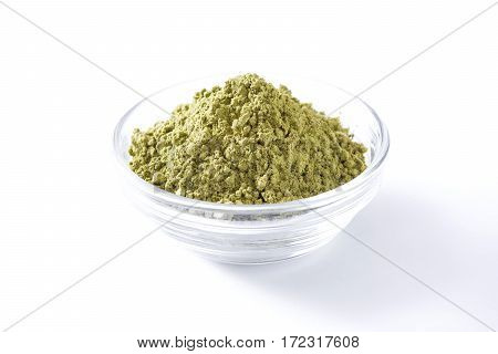Matcha Green Tea in bowl isolated on white background