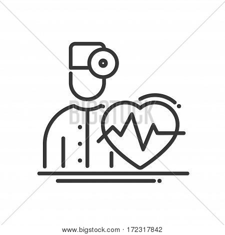 Doctor Cardiologist - vector modern line design illustrative icon. A doctor with a heartbeat and a pulse.