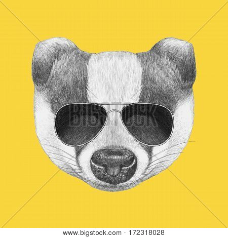 Portrait of Badger with sunglasses. Hand drawn illustration.