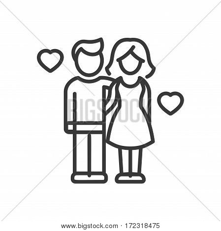 Love and Unity - vector modern line design illustrative icon. Female and male models, embracing each other, two hearts for mutual love
