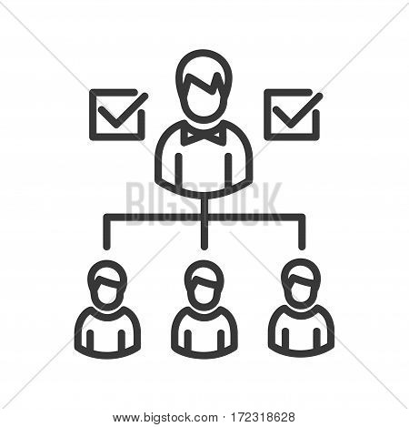 Effective Managing - vector modern line design illustrative icon. A person giving tasks to three teammates, checkboxes for results.