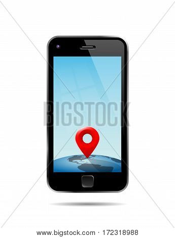 Vector Illustration Of A No Name Smart Phone Showing A Place On The Globe A Certain Place