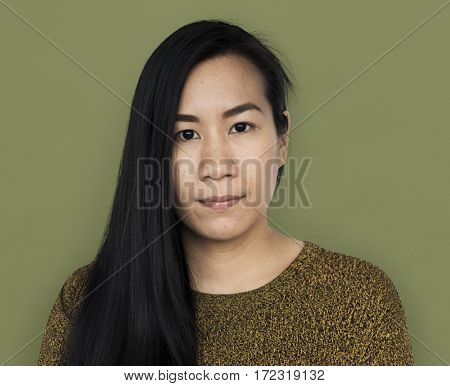 Asian Woman Front View Serious Concept