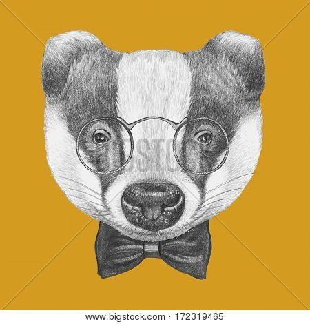 Portrait of Badger with glasses and bow tie. Hand-drawn illustration.