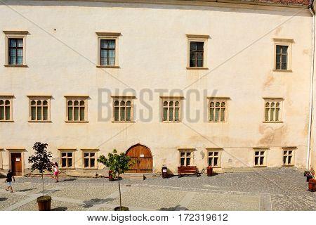 Old medieval fortress in city Fagaras, Transylvania, Romania.
