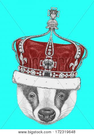 Portrait of Badger with crown. Hand drawn illustration.