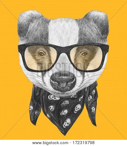 Portrait of Badger  with glasses and scarf. Hand-drawn illustration.