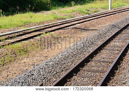 Railroad tracks, Outdoor scene with railway road in forest