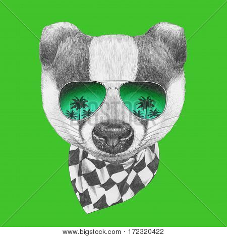 Portrait of Badger with mirror sunglasses and scarf. Hand drawn illustration.
