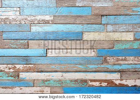 old wood texture background. Vintage wood background with blue color peeling paint.