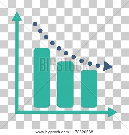 Negative Trend vector pictograph. Illustration style is flat iconic bicolor cobalt and cyan symbol on a transparent background.