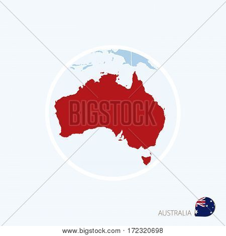 Map Icon Of Australia. Blue Map Of Oceania With Highlighted Australia In Red Color.