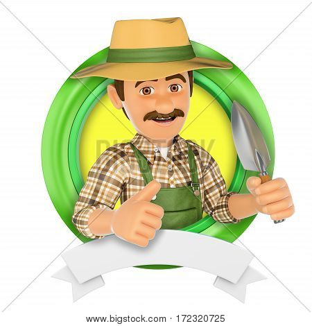3d logo illustration. Gardener with a small spade. Isolated white background. poster