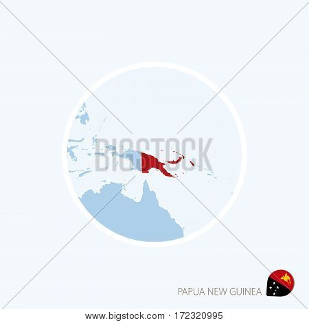 Map Icon Of Papua New Guinea. Blue Map Of Oceania With Highlighted Papua New Guinea In Red Color.